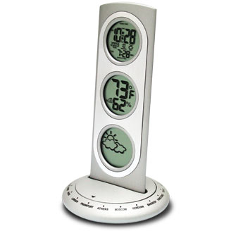 Three-Tier World Time/Weather Combo Station silver