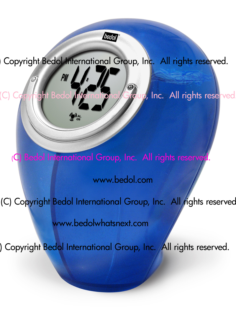 The Bedol Water Clock Smiley Alarm Blue